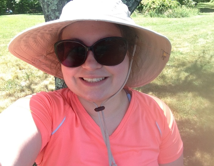 My ridiculous sunhat, moisture whisking hiking shirt and giant-mosquito-like-prescription-UV Ray-protecting sunglasses.