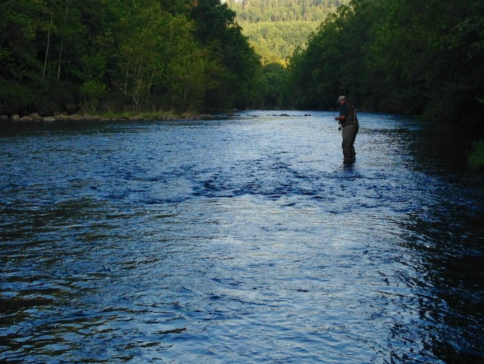 A man fishing on the Jackson River in Alleghany County. There are only two towns and 16,500 people in Alleghany County, but if you're into outdoorsy things, there's plenty to do: Rafting, kayaking, fishing, hiking, road and mountain biking and two cute mountain towns.