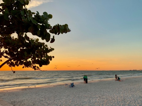Sunset on Pass-a-Grille Beach from Paradise Grille.