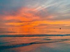 Vibrant sunset on Sand Key Beach.